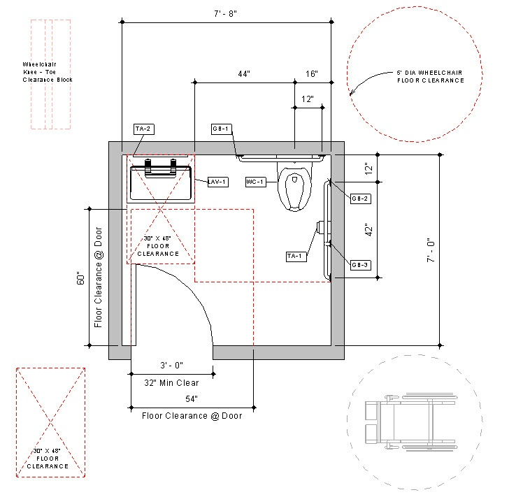 Revit Handicap Accessible Toilet Room Bradley Verge With