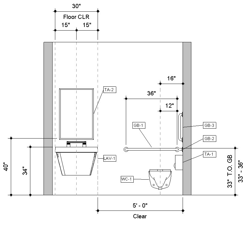 Urinal Front Elevation : Download pre built revit accessible toilet room sample model