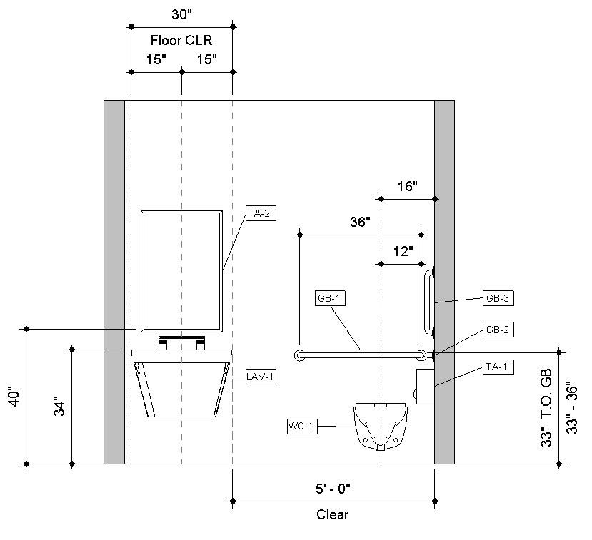 Front Elevation Bathroom : Download pre built revit accessible toilet room sample model