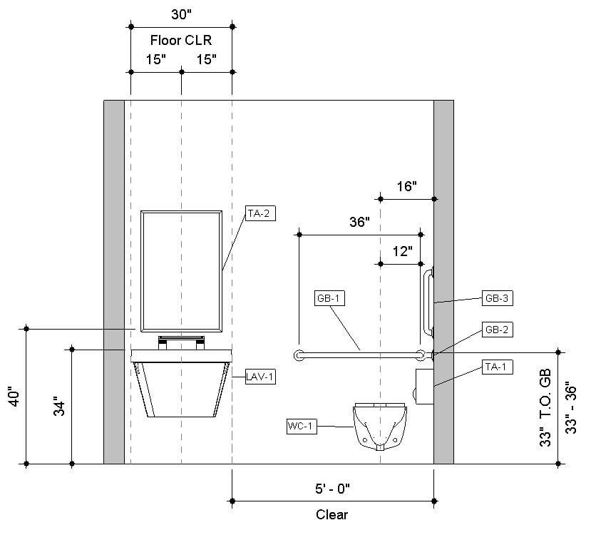 Front Elevation Of Bathroom : Download pre built revit accessible toilet room sample model
